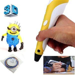 3d drucker stift printer drawing pen zeichenstift freihand werkzeug stecker gelb ebay. Black Bedroom Furniture Sets. Home Design Ideas