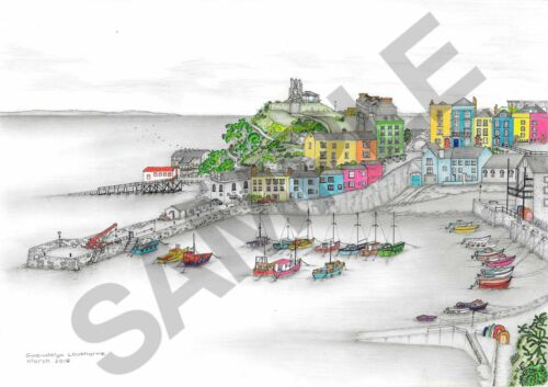 'Tenby Harbour' Original Pencil & Pen Limited Edition Print