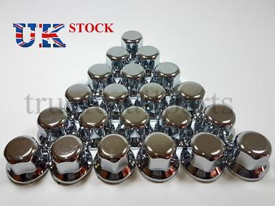 New 20x 32mm Wheel Nut Cover Lux Plastic CHROME fit Lorry Trailer Bus Truck LKW