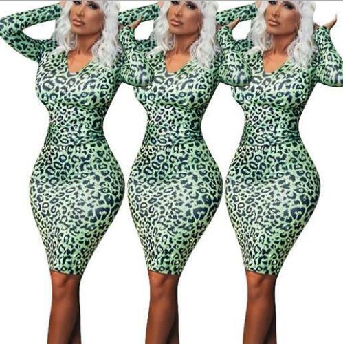 Woman Long Sleeve dress Leopard Printed V Neck Bodycon dress S-2XL Party dress