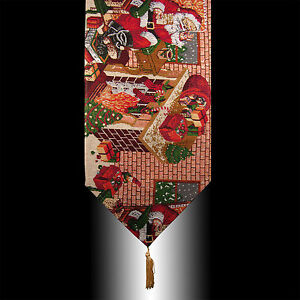 RED-CHRISTMAS-SANTA-CLAUS-TAPESTRY-TASSELS-WEDDING-PARTY-BED-TABLE-RUNNER-CLOTH