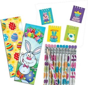 Pack of 36 Easter Stationery Pack, Pencils Bookmarks Notebooks Egg Fillers