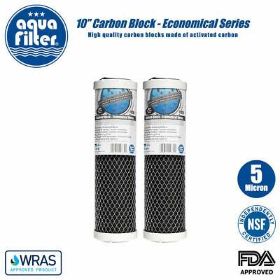 """6 Aquafilter 5 µ 10/"""" Carbone Bloc Filtre À Eau Pour Osmose Inverse Système"""