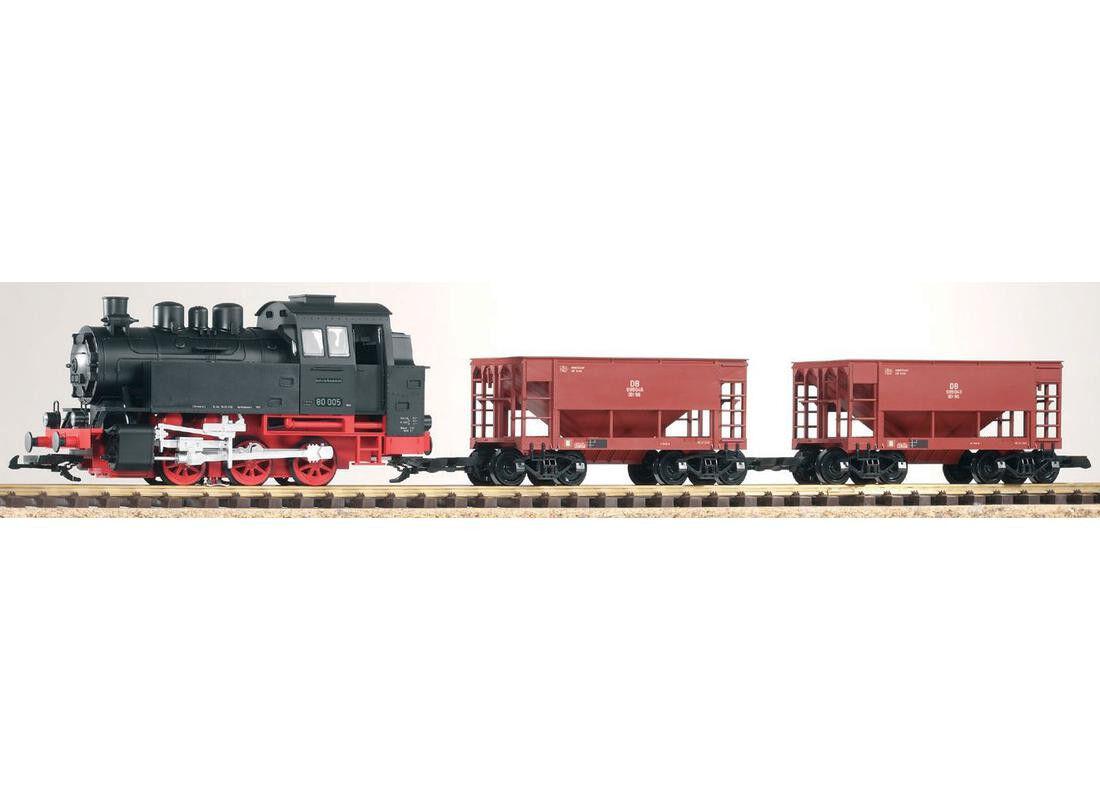 PIKO 37100-Giardino ferrovia Start-Set treno merci BR 80 + 2 sciolti carro, NUOVO & OVP