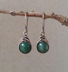 Oxidized Copper & Aquatic Agate Herringbone Wirework Dangle Earrings Handmade