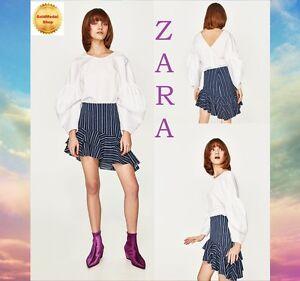 432f26d264 ZARA Striped Frilled Skirt New (RT$39.90) Stretch Denim Skirt Sizes ...