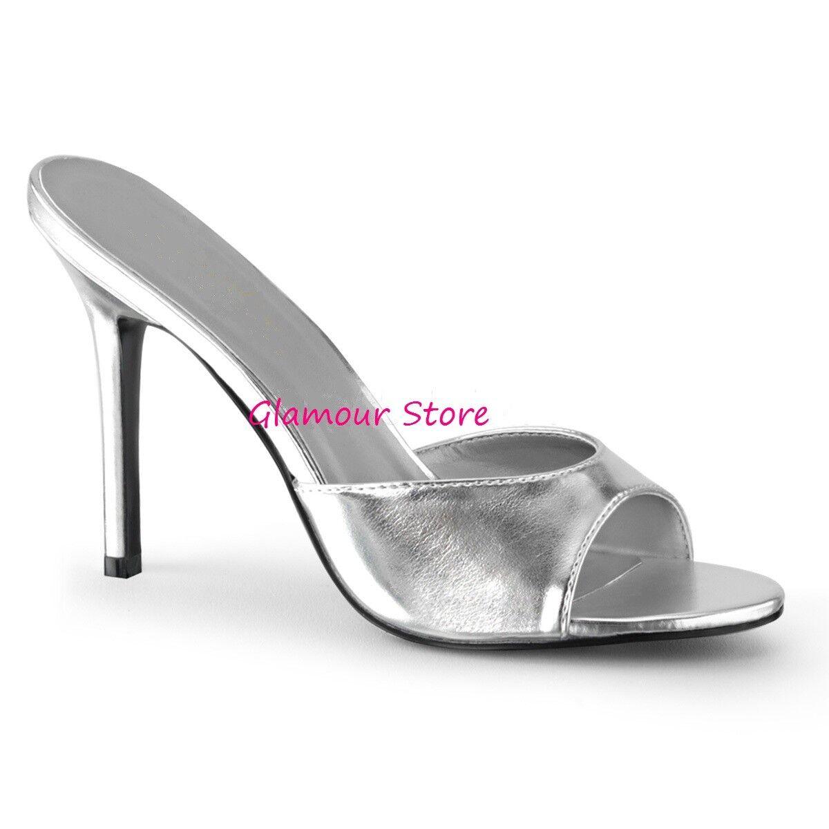 Sexy SANDALI tacco 10 dal 35 al scarpe 46 ARGENTO METALLIZZATO sabot scarpe al Glamour 0e92fe
