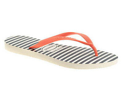 LAST ONE! NEW J CREW Havaianas size 11-12 navy white stripe flip flops beach