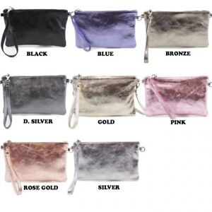 LeahWard-Women-039-s-Real-Leather-Metallic-Clutch-Bags-Party-Wedding-Racing-Evening