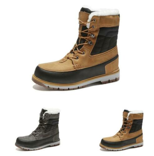 Winter Mens Outdoor Hiking Ankle Boots Shoes Fur Inside Warm Snow Non-slip New L