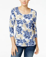 NWT 2XL 3/4 Sleeve Plus size Womens Floral Top Shirt Karen Scott New With Tags