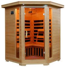 FAR Infrared IR Sauna Room Corner Unit HeatWave Santa Fe 3 Person Carbon Heaters