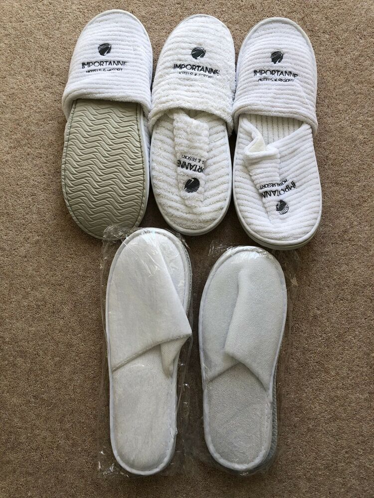 5 X Home Hotel Chaussons Coton Blanc T1