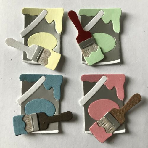 Paint Tin Pots and Brushes Painting Decorating DIY Dad Father Die Cuts