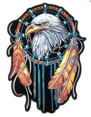 DELUXE JUMBO EMBROIDERIED EAGLE DREAMCATCHER FEATHERS 12 IN PATCH JP63  patches