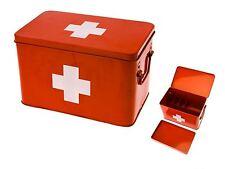 Medicine Storage Box Large Red Metal Case First Aid Bandage Plaster Storage Tin