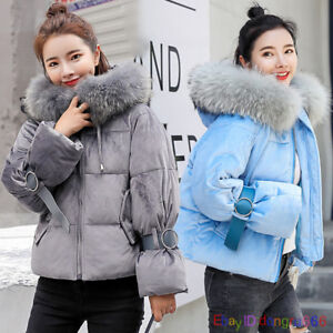 Women-Winter-Big-Fur-Collar-Down-Coat-Thick-Short-Cotton-Parka-Hood-Loose-Outwea