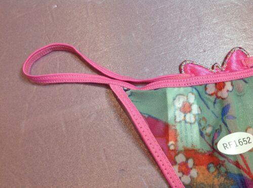 Women Panties,thongs CAPRICA O/'DARE Size L//7 Pink Shiny Gauze Floral W//decoratio