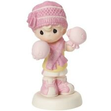 PRECIOUS MOMENTS Figurine FIGHT LIKE A GIRL Breast Cancer Awareness SNOW PINK