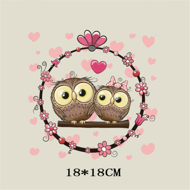 love owl heat transfer iron on patches for clothes diy clothing decor printing&s