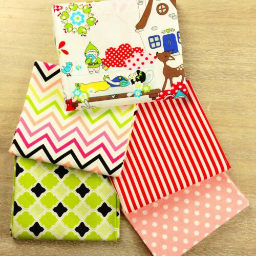 5FQs tissu paquetcoton fat quarterrouge vertblanche neige enfants craft