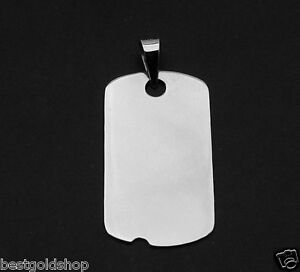 1 MENS MILITARY DOG TAG DISC CHARM PENDANT REAL SOLID 14K WHITE GOLD 2.8gr