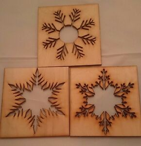 Christmas Stencils For Wood.Details About Christmas Craft Versitile Snowflake Stencils Large 3 Pack Wooden