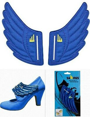 Shwings Angel Wings For Your Shoes Lace Up Kids Sneakers Blue Foil Nike Adidas