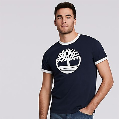 Timberland Men's Short Sleeve Tree Logo Ringer T-Shirt Style A1KCD