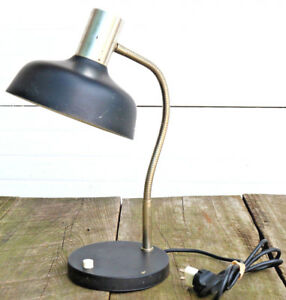 Vintage-European-Large-Lamp-Light-Industrial-MCM-Steam-Gooseneck-Work-Desk-AS