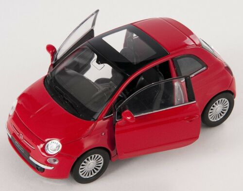 BLITZ VERSAND Fiat 500 2007 rot red Welly Modell Auto 1:34 NEU /& OVP