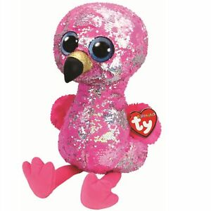 """9/"""" PINKY TY FLIPPABLES LARGE FLAMINGO *NEW WITH TAGS*UK SELLER*"""