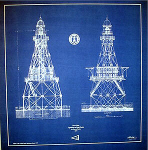 Lighthouse in florida at fowey rocks 1875 blueprint plans for Florida blueprint
