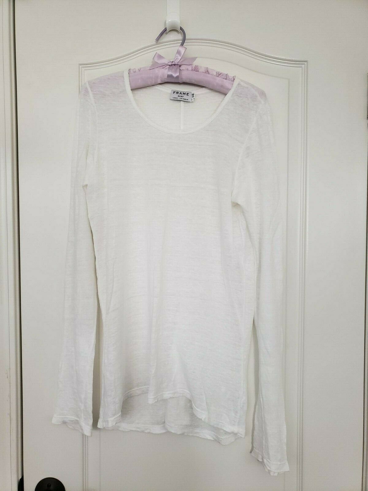 FRAME Weiß Sheer Linen Lange Sleeve T Hemd Größe S NWOT