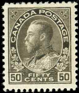 Canada-120-mint-VF-OG-H-1925-King-George-V-50c-black-brown-Admiral-Dry-Print