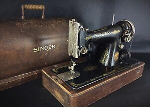 Ancienne-1924-Machine-a-coudre-Singer-portable-99K-fabrique-a-50-000-exemplaires