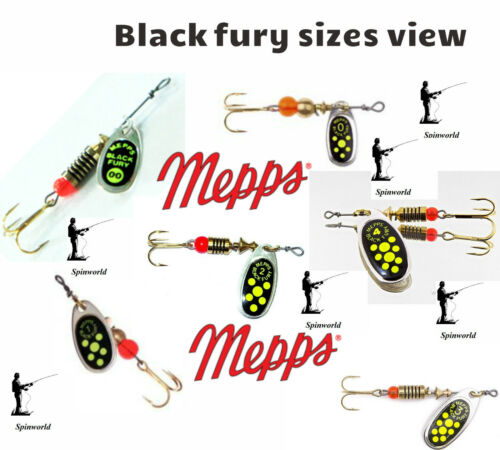 VARIETY SIZES /& COLOURS spinners MEPPS Black Fury Silver