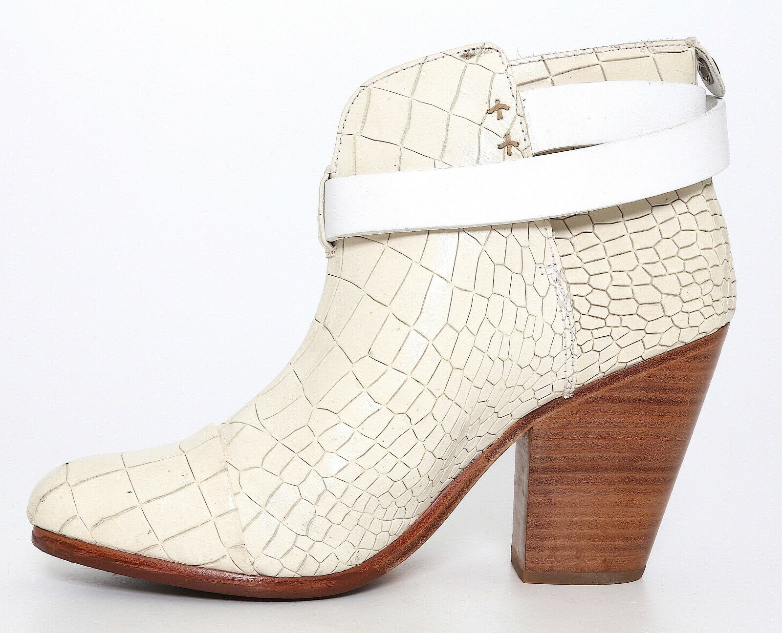Rag & Bone Harrow Harrow Harrow Crocodile Embossed Ankle Boots Ivory Women Sz 38 EUR 5026 90f7f5