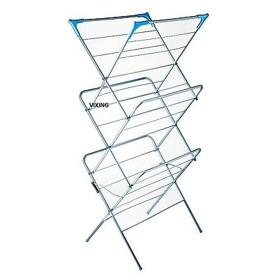 CLOTHES AIRER 3 TIER FOLDING LAUNDRY DRYER CONCERTINA INDOOR/OUTDOOR HORSE TOWEL