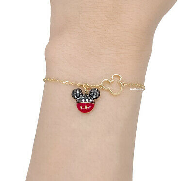 New SWAROVSKI Disney Mickey Red Black Logo Sparkle Gold Chain Bracelet  5566689 | eBay