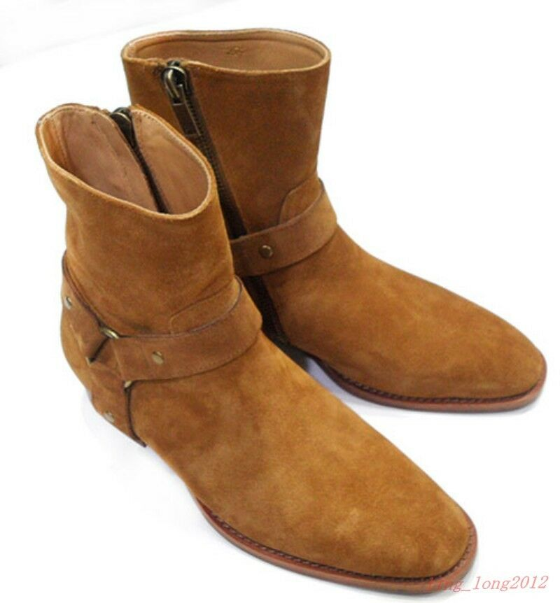 Vintage Men's High Top Chelsea Ankle Boots Suede Leather Mid Heels Shoes Size