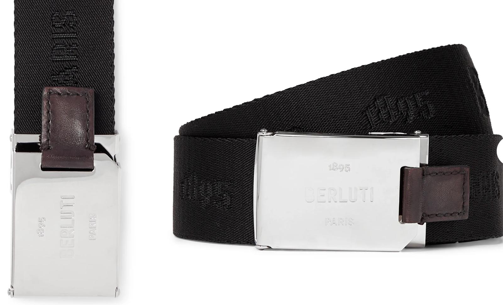 BERLUTI Paris Leather-Trimmed Webbing-Jacquard Silver Buckle Belt Belt 105