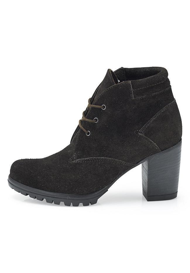 Damen Schuhe Stiefeletten  Schnürstiefelette Leder Kaffee von Hessnatur Gr. 38