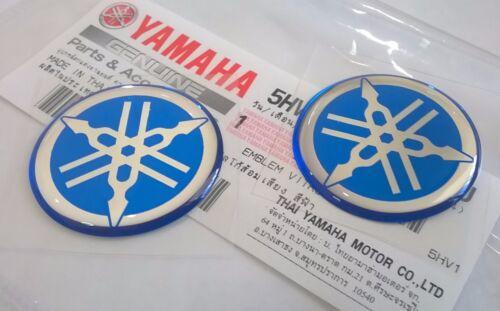 2 x YAMAHA 100/% GENUINE 30mm TUNING FORK LOGO BLUE SILVER DECAL EMBLEM STICKER