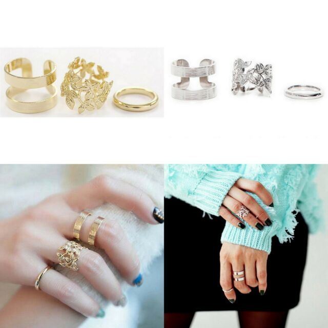 3pcs/set Gold Silver Leaves Leaf Knuckle Finger Rings wedding party punk Jewelry