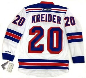 CHRIS KREIDER NEW YORK RANGERS REEBOK PREMIER WHITE AWAY JERSEY NEW ... e4c00bd14