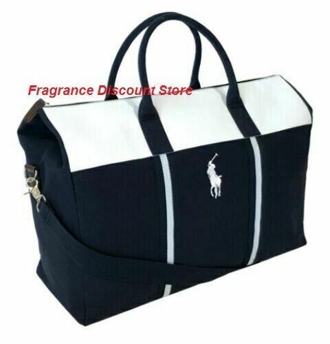 100% Genuine Ralph Lauren Blu Navy Bianco Designer Duffle Palestra Weekend Borsa Da Viaggio Mu5