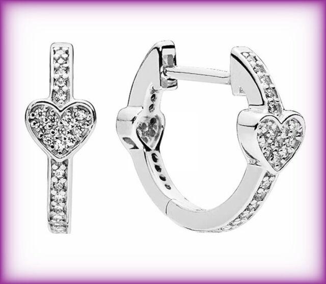 Genuine PANDORA ALLURING HEARTS HOOP EARRINGS Silver S925 ALE 297290CZ RRP £50
