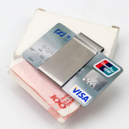 Two-Sided Stainless Steel Slim Pocket Money Clip Wallet Credit Card Cash HoldWQH
