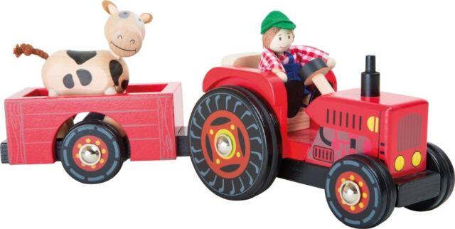 Holzspielzeug Bauernhof+++ +++Legler Traktor mit Anhänger++